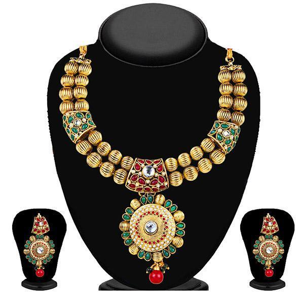 Kriaa Maroon And Green Pota Stone Necklace Set - 2101403 - ES
