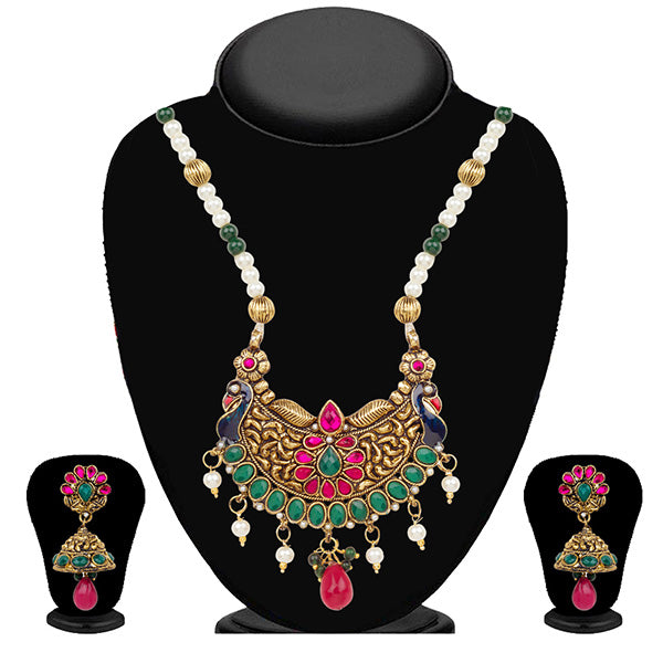 Kriaa Multicolor Kundan And Pearl Peacock Necklace Set