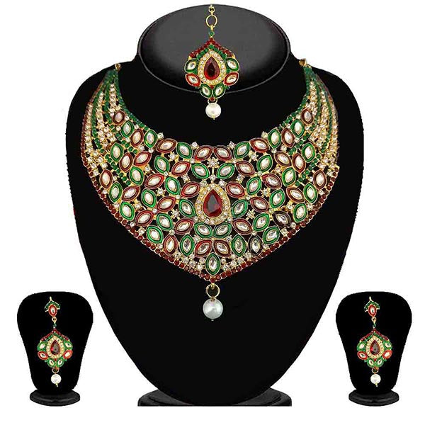 Kriaa Multicolor Stone Necklace Set With Maang Tikka