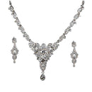 Kriaa Silver Plated White Austrian Stone Necklace Set