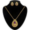 Kriaa Gold Plated Purple Austrian Stone Pendant Set - 2101508