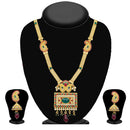 Kriaa Maroon Pota Stone Gold Plated Necklace Set