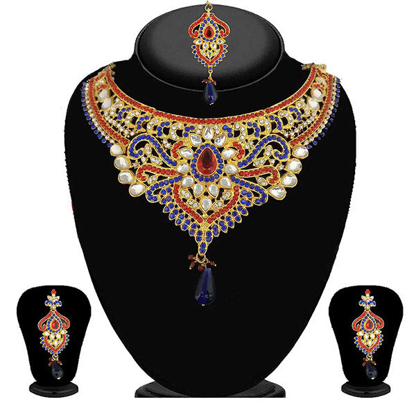 Kriaa Blue Stone kundan Necklace Set With Maang Tikka
