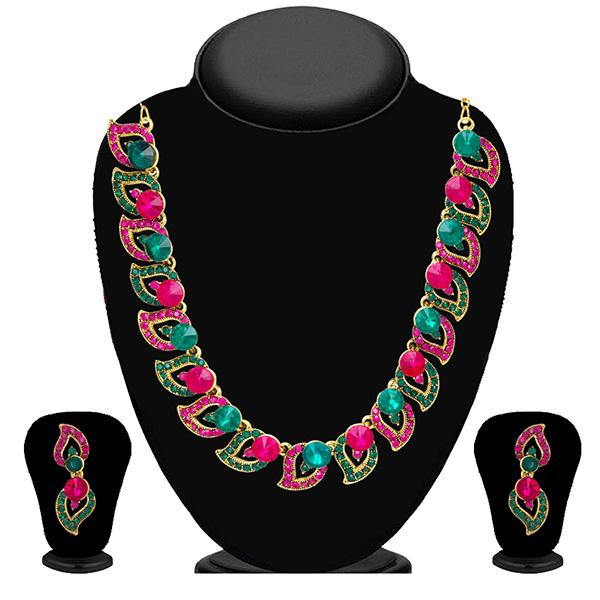 Kriaa Pink Austrian Stone Gold Plated Necklace Set - 2101605 - ES