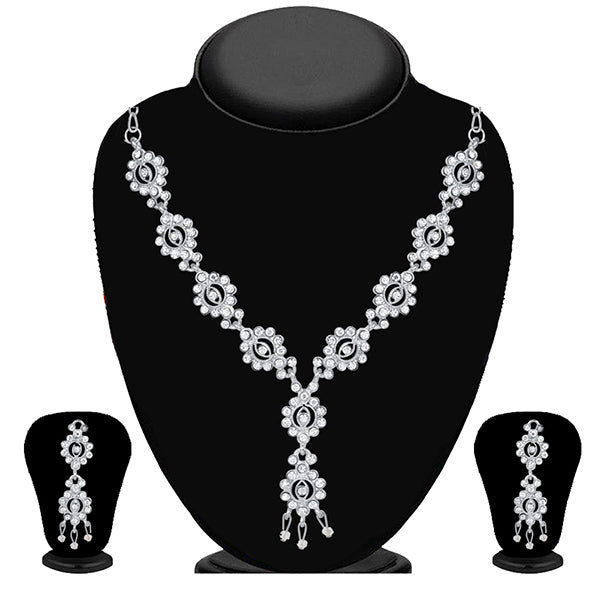 Kriaa White Austrian Stone Silver Plated Necklace Set