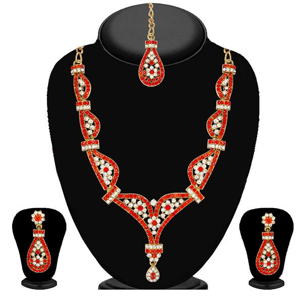 Kriaa Orange Stone Necklace Set With Maang Tikka