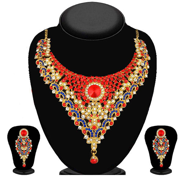 Kriaa Red And Blue Stone Necklace Set