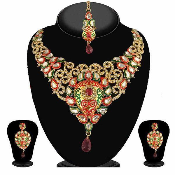 Kriaa Multicolor Stone Necklace Set With Maang Tikka-2101705-WN