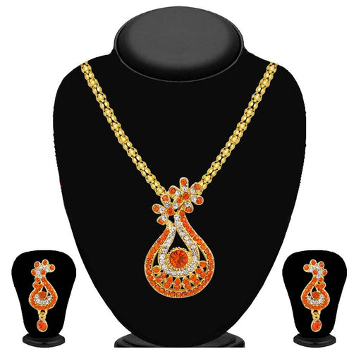 Kriaa Orange Austrian Stone Pendant Set