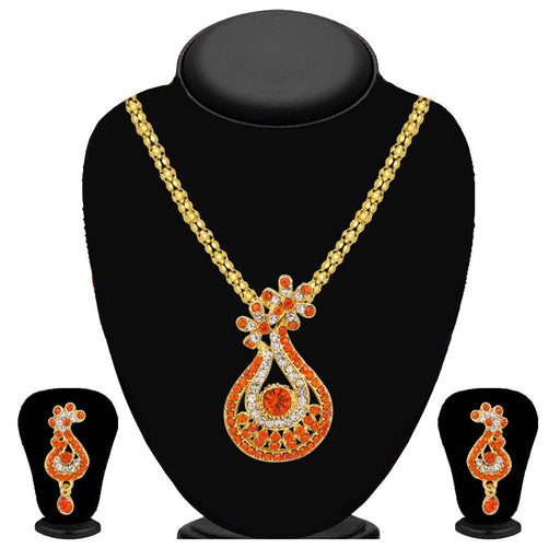 Kriaa Orange Austrian Stone Pendant Set  - 2101707