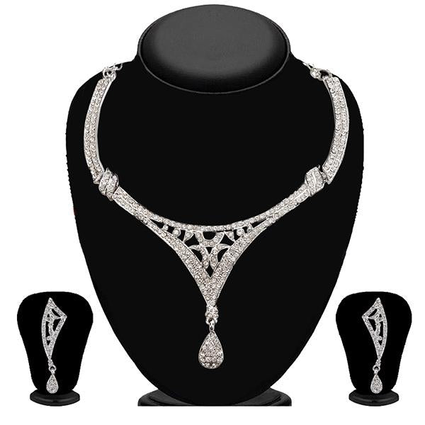 Kriaa Zinc Alloy Silver Plated White Stone Necklace Set - 2101802-CL