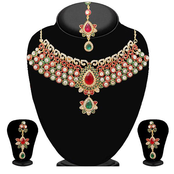 Kriaa Maroon Stone Necklace Set With Maang Tikka-2101806-WN