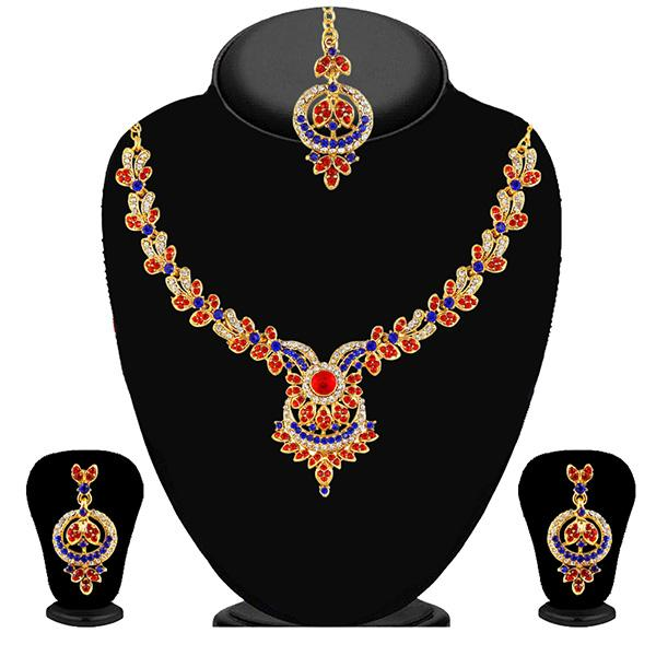 Kriaa Blue Austrian Stone Gold Plated Necklace Set - 2101809 - ES