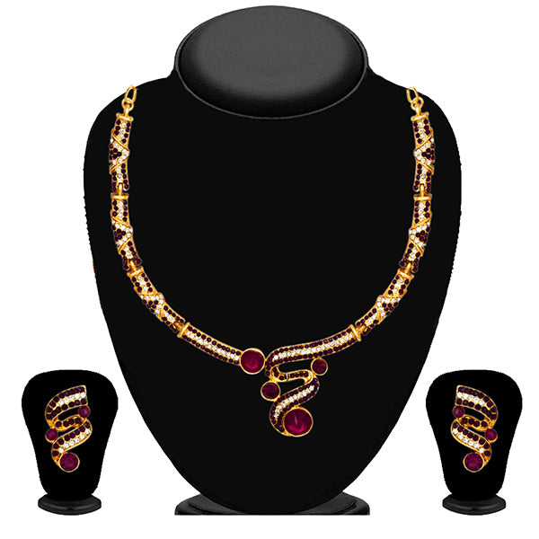 Kriaa Purple Austrian Stone Necklace Set