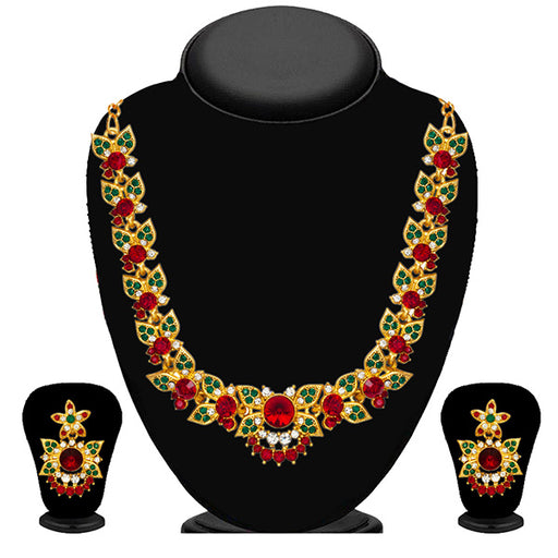 Kriaa Green And Red Austrian Stone Necklace Set