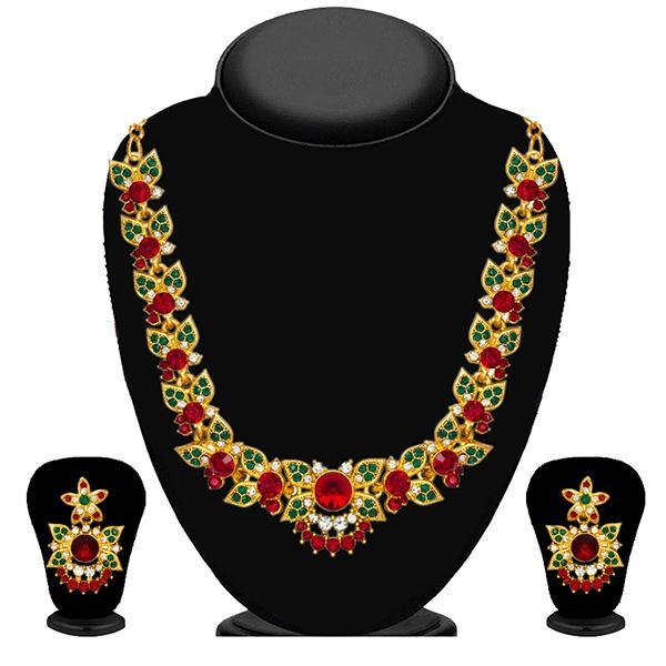 Kriaa Green And Red Austrian Stone Necklace Set - 2101906 - NB
