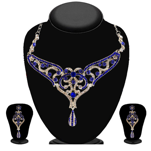 Kriaa Silver Plated Blue Austrian Stone Necklace Set