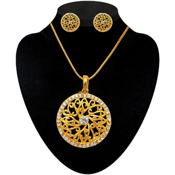 Kriaa Gold Plated White Austrian Stone Pendant Set