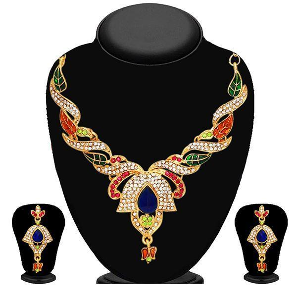 Kriaa Multicolor Austrian Stone Necklace Set-WN