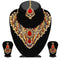 Kriaa Blue Stone & Pearl Necklace Set With Maang Tikka