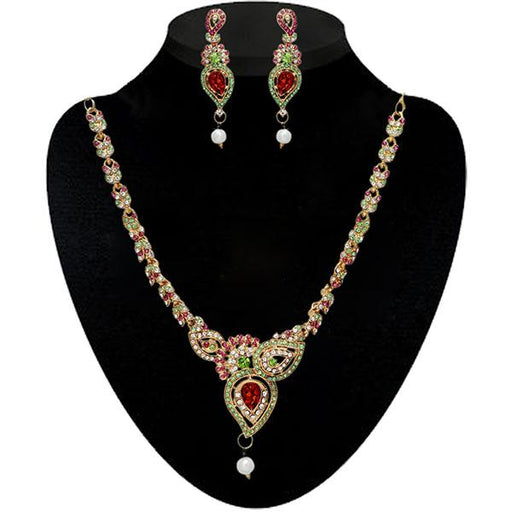 Kriaa Green And Pink Stone Necklace Set - 2102206 - ES