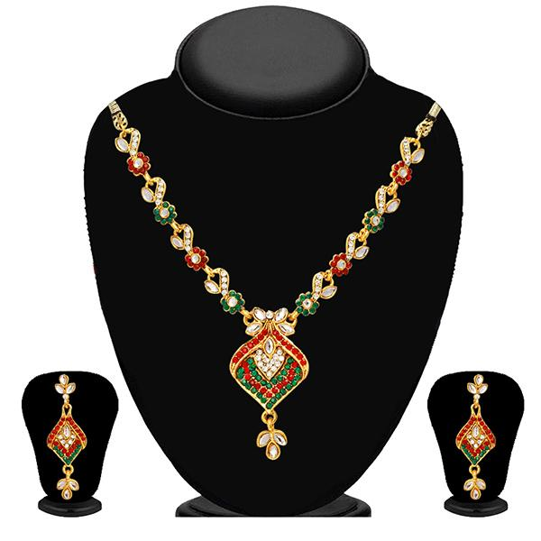 Kriaa Green And Maroon Stone And Kundan Necklace Set - 2102303 - ES