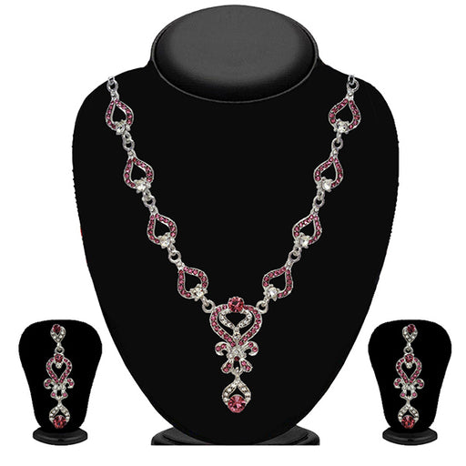 Kriaa Zinc Alloy Silver Plated Pink Stone Necklace Set