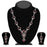 Kriaa Zinc Alloy Silver Plated Pink Stone Necklace Set - 2102401 - NB