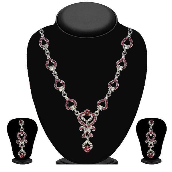 Kriaa Zinc Alloy Silver Plated Pink Stone Necklace Set - 2102401 - H