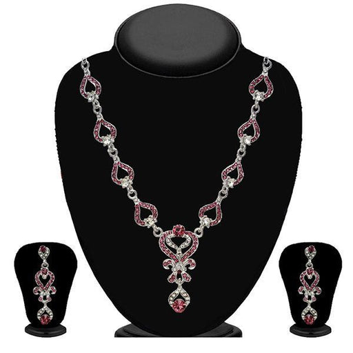 Kriaa Zinc Alloy Silver Plated Pink Stone Necklace Set - 2102401 - BS