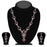 Kriaa Zinc Alloy Silver Plated Pink Stone Necklace Set - 2102401 - ES