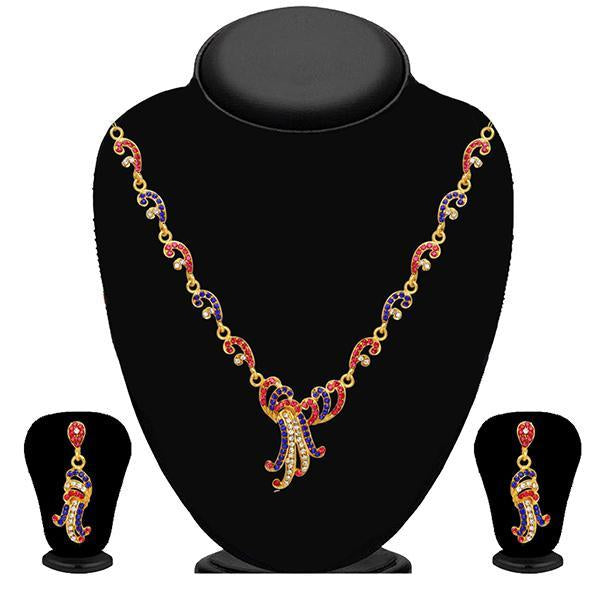 Kriaa Pink And Blue Stone Necklace Set - 2102404 - BS