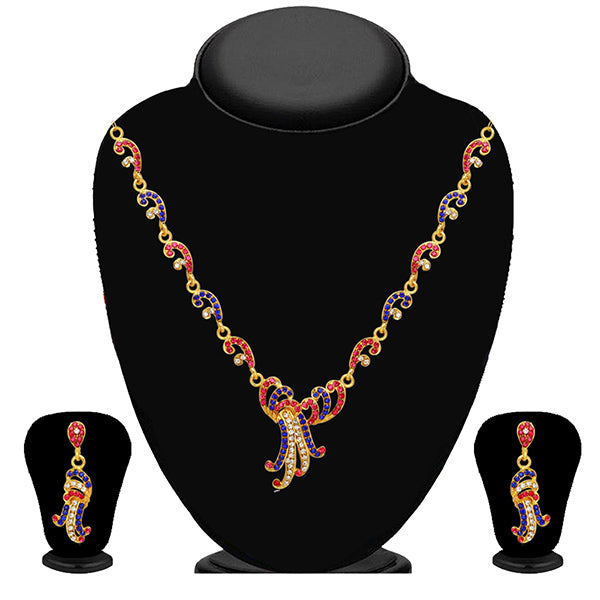 Kriaa Pink And Blue Stone Necklace Set