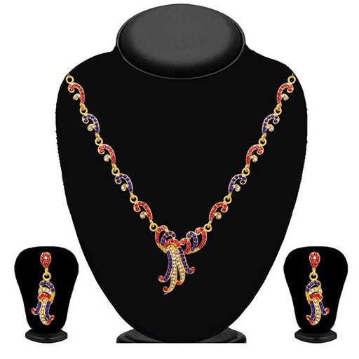 Kriaa Pink And Blue Stone Necklace Set - 2102404 - ES