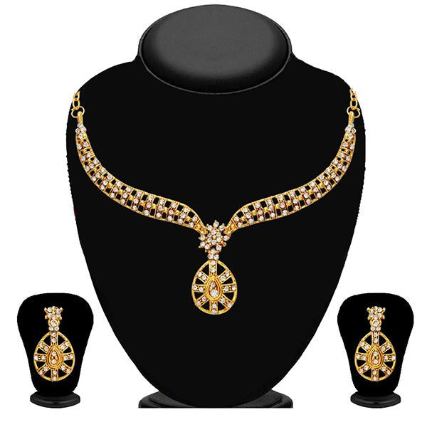 Kriaa Gold Plated White Austrian Stone Necklace Set - 2102405 - ES