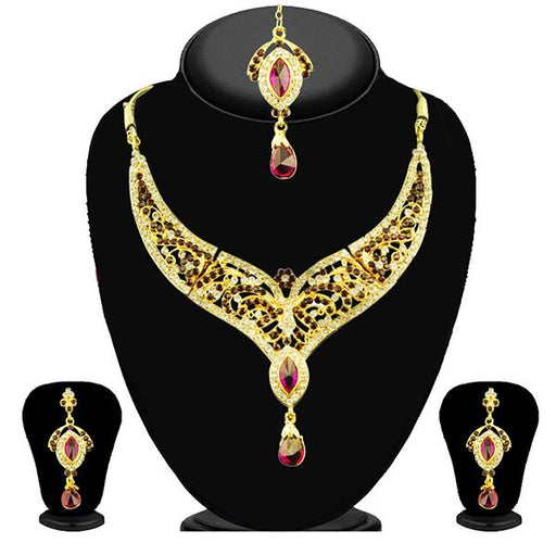 Kriaa Purple Stone Necklace Set With Maang Tikka - 2102703 - ES