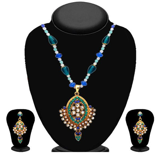 Kriaa Blue Austrian Stone Necklace Set - 2102705 - ES