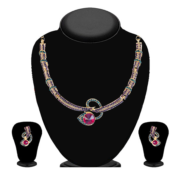 Kriaa Purple And Green Stone Necklace Set