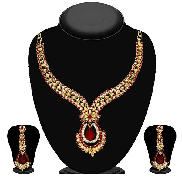 Kriaa Maroon Austrian Stone Gold Plated Necklace Set - 2102804 - ES