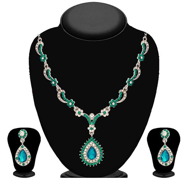 Kriaa Zinc Alloy Silver Plated Green Stone Necklace Set - 2102904 - ES