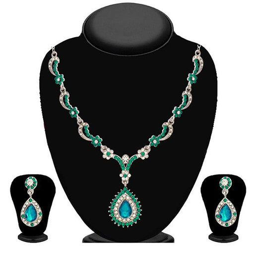 Kriaa Zinc Alloy Silver Plated Green Stone Necklace Set - 2102904-CL