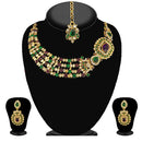 Kriaa Green Stone Necklace Set With Maang Tikka