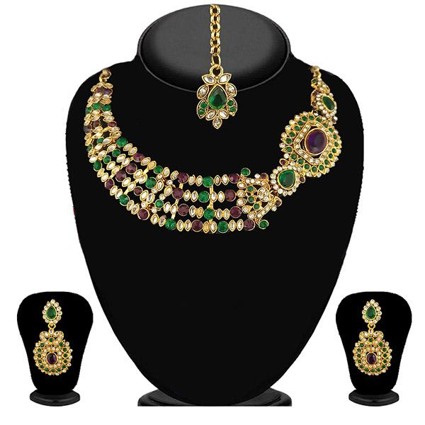 Kriaa Green Stone Necklace Set With Maang Tikka - 2103004