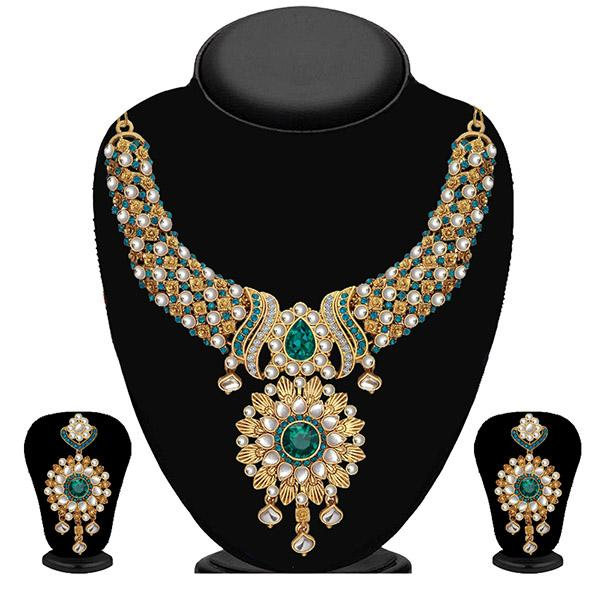 Kriaa Blue Stone And Kundan Necklace Set