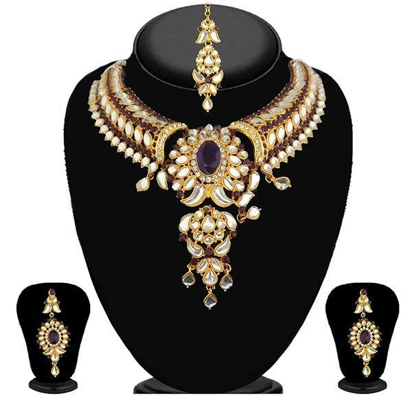 Kriaa Purple Stone Necklace Set With Maang Tikka - 2103103 - ES