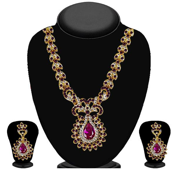 Kriaa Purple Austrian Stone Necklace Set - 2103505-CL