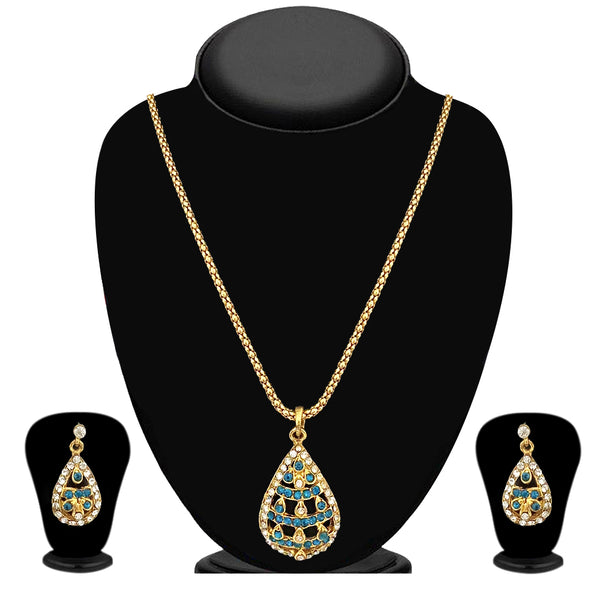 Kriaa Gold Plated Blue Austrian Stone Pendant Set  - 2103506