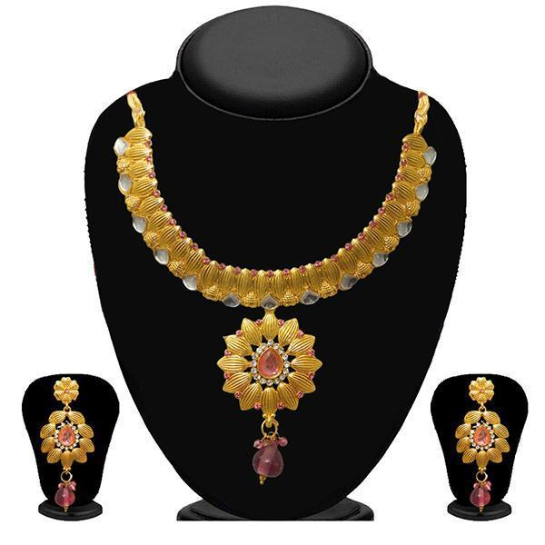 Kriaa Pink Stone Kundan Necklace Set - 2103601 - ES