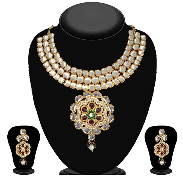 Kriaa Gold Plated Stone Kundan Floral Design Necklace Set