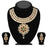 Kriaa Gold Plated Stone Kundan Floral Design Necklace Set - 2103602-ES